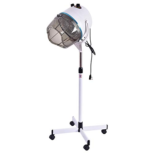 CASART Portable Salon Hair Hood Dryer Stand Up Bonnet Professional Hairdresser Styling Timer Temperature Adjustable, White