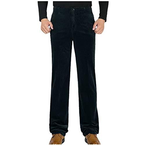 ZHANSANFM Cordhose Herren Einfarbige Chinohose Anzughose Bermuda Straight-Cut Freizeithose Clubwear Modern Täglichen Casual Lose Hose Regular Fit Retro Elegant Pants (33, Blau)