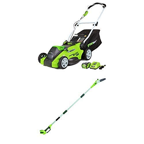 Greenworks 16-Inch 40V Cordless Lawn Mower with 8.5' 40V Cordless Pole Saw Battery Not Included 20302 -  Sunrise Global Marketing, LLC