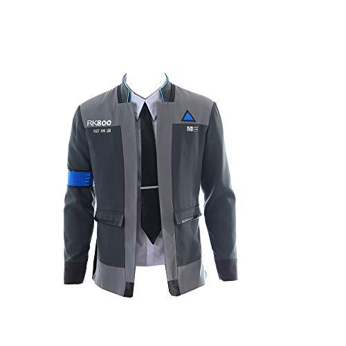 mangu COSTORY Werden Sie menschlicher Connor Jacke, Cosplay Kostüm Herren Mantel Uniform Anzug - Grau - Medium