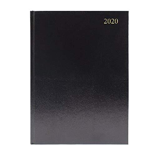 Agenda da scrivania, formato A4, giorno per pagina, per appuntamenti 2020, colore: nero