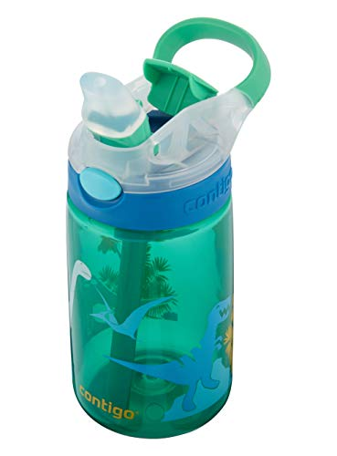 Contigo Kids Water Bottle Gizmo Flip Jungle Green Dino Autospout with Straw, BPA-free drinks bottle, leak-proof, ideal for kindergarten, school and sports, 420 ml