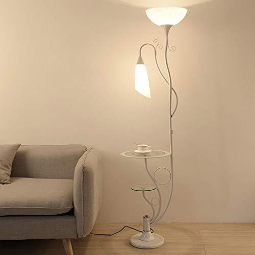 Floor lamp Moderne lamp heldere verlichting, met glazen planken, 2 Light White Acryl Lampekap, Uplighter Lamp Stands Lamp for Living Room, H164cm Vloerlamp Plank Lamp LED (Color : White)