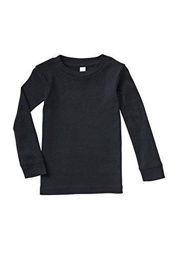 RABBIT SKINS - Infant Long Sleeve Baby Rib Pajama Top, Black, 18 Months