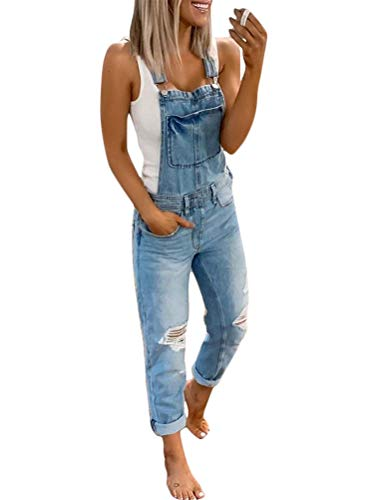 Tomwell Damen Latzhosen Jeanshosen Slim Fit Denim Overall Jumpsuit Vintage Jeanslatzhose Casual Denim Fraizeithose mit Taschen A Blau X-Small