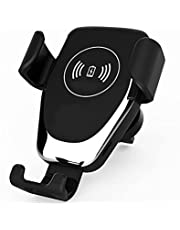 Car Wireless Charger, Fast Charging Auto-Clamping Car Phone Holder, Mount Windshield Dashboard Air Vent Car Charging Holder (Black)