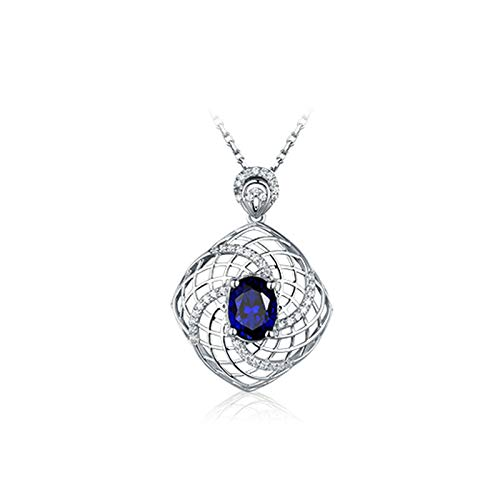 AYDOME Necklace for Women Pendant, 1ct Sapphire Windmill Mesh Oval Diamond 18K White Gold Blue Brides