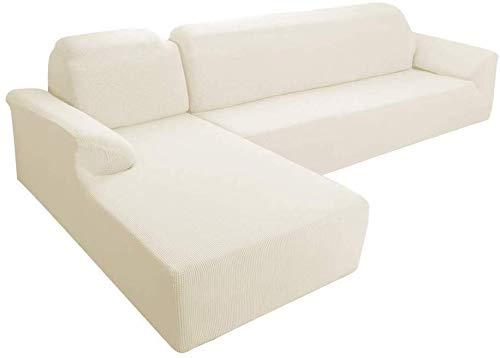 E EBETA Funda Elástica para Sofá Chaise Longue, Chaise Longue Jacquard Funda de sofá para Juego de 2 en Forma de L para 2 plazas + sofá de Esquina de 2 plazas Izquierda (El arroz Blanco, 2 plazas)
