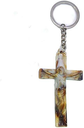 NC188 Moda Estilo Retro Cruz Colgante Cierre de Llave Joyería Religiosa Cristiana Regalos Jesús Estatua Llavero 7 * 4Cm