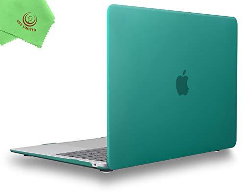 UESWILL Carcasa rígida mate suave para MacBook Air de 13 pulgadas Retina Display & Touch ID & USB-C modelo A2337 A2179 A1932 + paño de microfibra, color verde pavo real