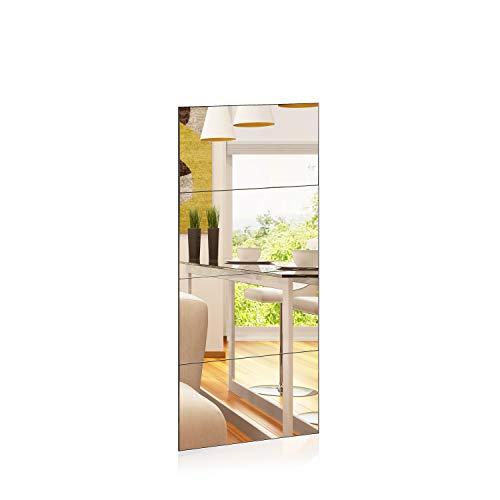 1000 MIRROWS® Spiegelfliesen Selbstklebend | 4er Set | 30 x 50 cm | Spiegel Groß Wandspiegel 120 cm ohne Rahmen Ganzkörperspiegel Badspiegel Rechteckig Kacheln Wand
