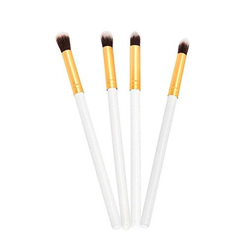 MagiDeal 4pcs Brosse de Maquillage pour Ombre à Paupières Eyeliner Lip Liner Eyeshadow Doux et Confortable Outil Cosmétique - Or blanc