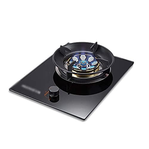 Nueva cocina de gas de 43 cm Placa de cocina de gas empotrada |Para cocinar de mesa |5.0KW |Aros de cocina de hierro fundido Quemador eléctrico | Fácil de limpiar [Clase energética A] (Color: Negro
