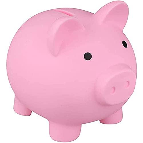 Auplew Hucha de plástico con diseño de cerdo, hucha para regalo adecuado para cumpleaños infantiles y ahorro de Navidad