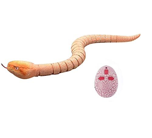 FashionClubs RC Snake Realistic Remote Control Snake Toy, Fast Moving Simulation Infrared Remote Control Fake Rattlesnake RC Animal Toys, USB Charge Scary Trick Snake Prank Toys for Kids, Orange Color