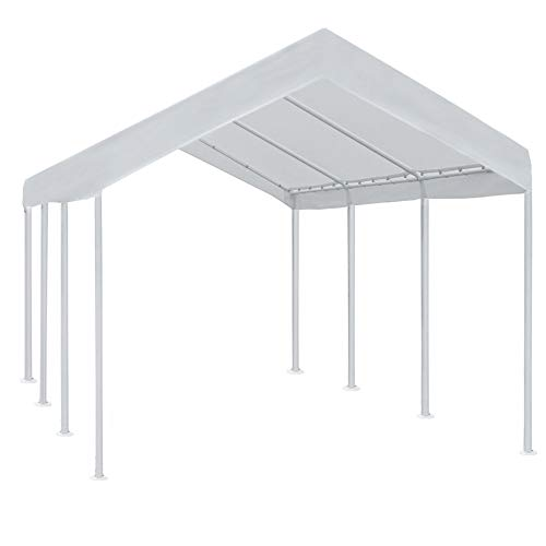 Abba Patio 10 x 20 ft Outdoor Heavy Duty Carport Car Canopy Portable Steel Garage Tent Boat Shelter for Party, Wedding, Garden Storage Shed, White, 8 Legs