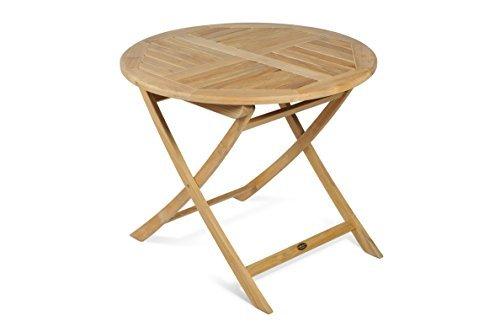 TWC WARENHANDEL PLUS Garten und mehr... Gartentisch klappbar Holz Teak 90 cm Durchmesser - Hochwertiger Tisch für Garten Terrasse oder Balkon aus Teakholz