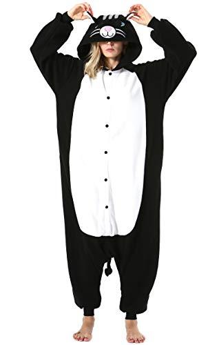 Mujer Hombre Pijama Animal Entero Unisex para Adultos con Capucha Cosplay Pyjamas Ropa de Dormir Traje de Disfraz para Festival de Carnaval Halloween Navidad Negro Gato para Altura 148-187cm
