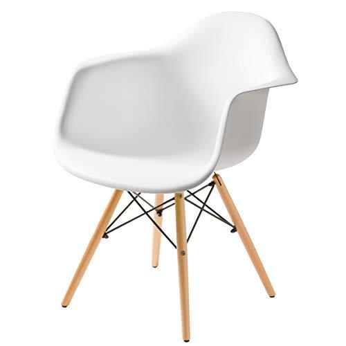 【独特の曲線美が身体を包み込む 不朽の名作イームズチェアDAW】 スッキリとした無駄のないデザイン 人気の木脚タイプ 座り心地のいいアームシェル型 (ホワイト色) ホワイト DAW