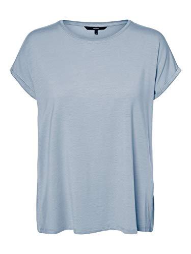 VERO MODA Damen VMAVA Plain SS TOP GA NOOS T-Shirt, Blue Fog, S