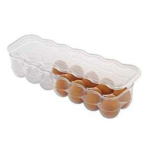 InterDesign Covered Egg Holder - Refrigerator Storage Container, 14 Egg Tray, Clear