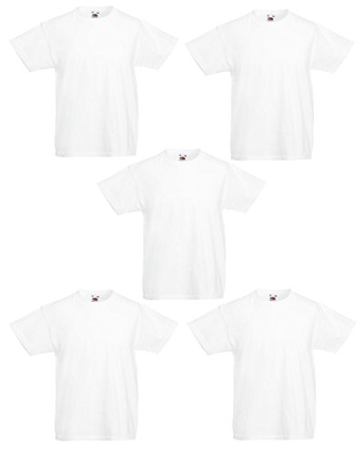 Fruit of the Loom Boys 61 033 0 Kids Valueweight T Shirt 5 Pack White 7 8 Years Pack of 5