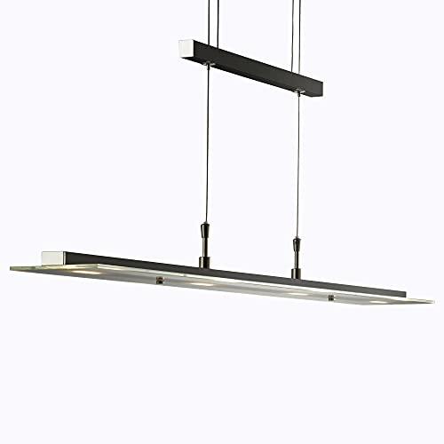 B.K.Licht Lámpara LED de techo colgante de metal y cristal auténtico, altura...