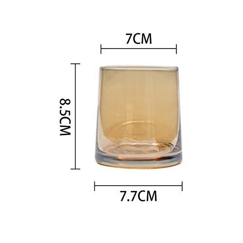ABQ 270ML Buntes Rotweinglas Wodka Whisky Schnapsglas Bierglas Glas Tasse Dicker Bodensaft, Bernstein