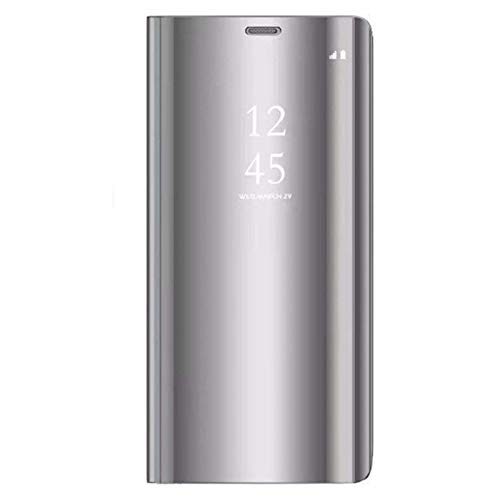 Caler Compatibile con/Sostituzione per Cover Samsung Galaxy S9/S9 Plus Custodia Specchio Portafoglio Case Flip Silicone Trasparente Wallet in Pelle Bumper Folio Protector (S9, Argento)