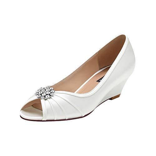 ERIJUNOR E2019A Women Comfortable Low Heel Wedges Peep Toe Wedding Shoes Ivory Size 11
