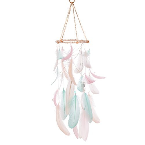 Ling's moment Handmade Feather Dream Catchers for Kids Baby Crib Mobile LED Fairy