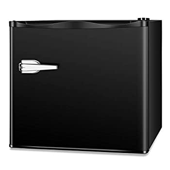 LHRIVER Portable Small Deep Freezer - 7 Freezer Thermometer 1.2 cu ft Mini Upright Freezer Single Door Reversible and Adjustable Leveling Legs Stainless Steel Door for Office Black