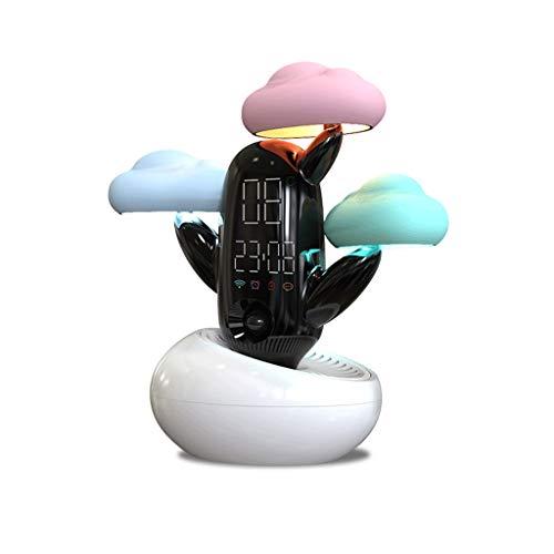 LMM HOME Mit leuchtender Lampe Nachttischlampe Schlafzimmer multifunktions Wolke Wetter Smart Cartoon Kreative Wecker Stille Student Wecker (Color : White)