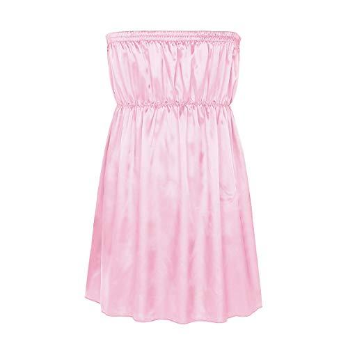 CHICTRY Unterwäsche Herren Sissy Spitze Lingerie Nachtkleid Babydoll Dessous Reizwäsche Sleepwear Satin Kleid Negligee Nachtwäsche (Einheitsgröße, Rosa aus Satin)