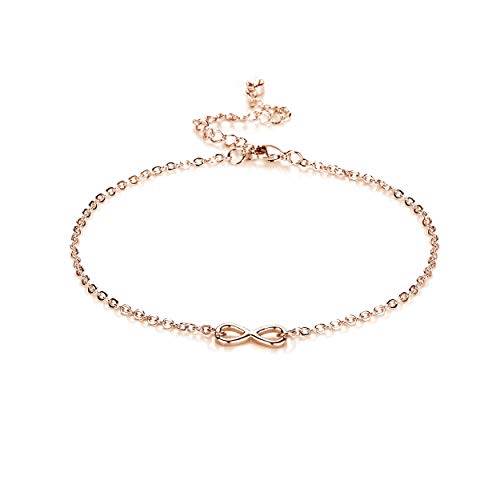 Rose Gold Infinity Anklet Created with Austrian Crystals