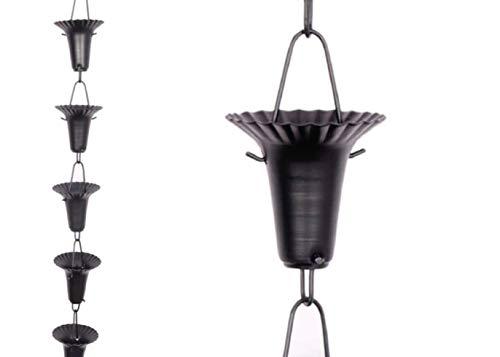 Regenkette Blumenkette aus Aluminium, Schwarz, 2,6 m # 90143