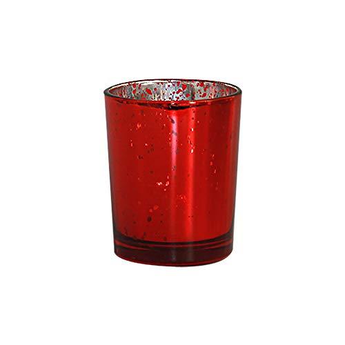 Paquete de 24 portavelas de mercurio rojo moteado para velas votivas a granel, decoración perfecta para el hogar, boda, Acción de...