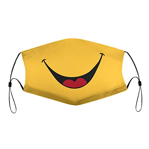 Smiley Face Mask with Filter Smile Face Cover for Adults Breathable Washable Reusable Smiling Mouth Cover Yellow