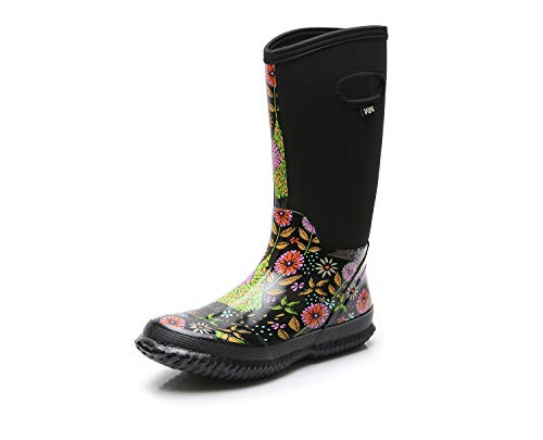 WTW Women's Neoprene Rubber Rain Snow Boots for Ladies,Winter Warm Waterproof Insulated Barn Boots(7 B(M) US, Floret)