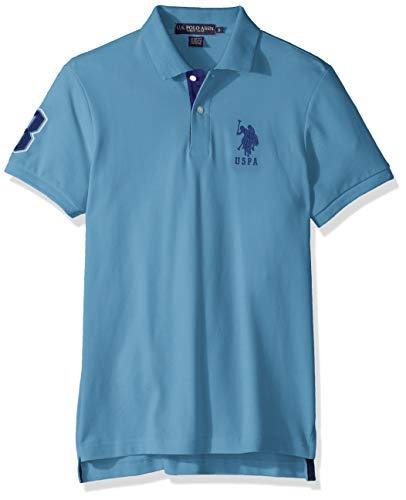 U.S. Polo Assn. Men's Short-Sleeve Polo Shirt with Applique, Coast Azure, S