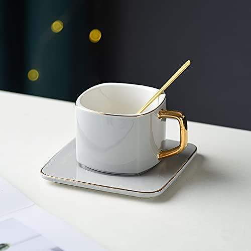 Porcelain Cup Classic Ceramic Coffee Cups Mugs Porcelain Square Tea Drinkware Spoon Saucer Set Golden Edges and Handles Creative Design (Color : Gray)