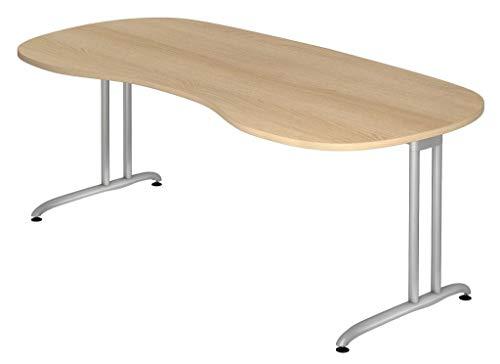 Froschkönig24 Cockpit-Schreibtisch 16584 Schreibtisch Nierentisch Tisch Bürotisch 200x100cm, Dekor:Eiche, Blende:Blende einliegend