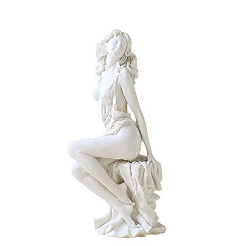 PeiQiH Sitting On The Stone Greek Goddess Statue Woman Body Sculpture Art Display Arts Crafts Figurine for Home Decor White 31x16cm(12x6inch)