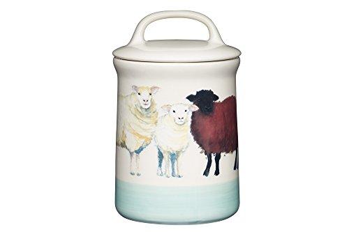 KitchenCraft Apple Farm Handgefertigter, luftdichte Vorratsdose Sally Sheep, Keramik, Creme/ Grün, 10.5 x 10.5 x 17.5 cm, 1 Einheiten