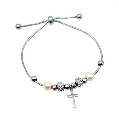 BDM Pulsera para Mujer de Acero Color Plata Original. Colgantes de Cruz, Perlas, Abalorios Brillantes y Bolas.