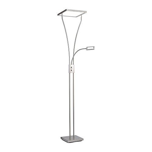 LeuchtenDirekt LED Stehlampe, dimmbar mit verstellbarer Leselampe | Deckenfluter, beidseitig warmweißes Licht