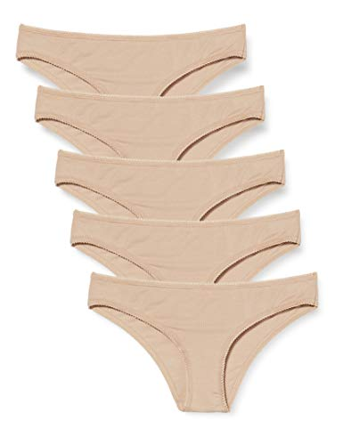 Amazon-Marke: Iris & Lilly Damen Brazilian Slip Cotton 5er Pack, natur, X-Large