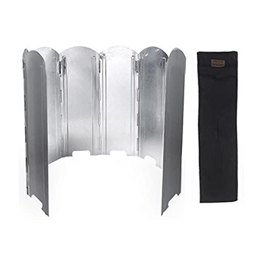 Jomewory Parabrisas plegable de la estufa al aire libre, parabrisas de aluminio con bolsa de transporte, quemador de butano ligero