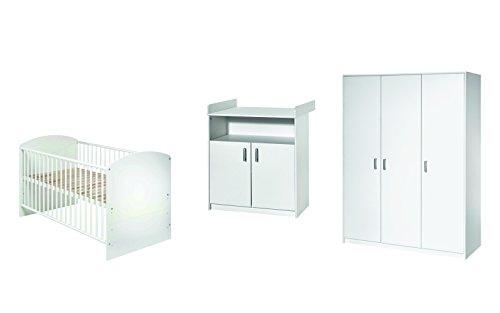 Schardt 11 519 02 00 complet Chambre Classic White, Kombi – Lit pour enfant avec draps blanc 70 x 140 cm