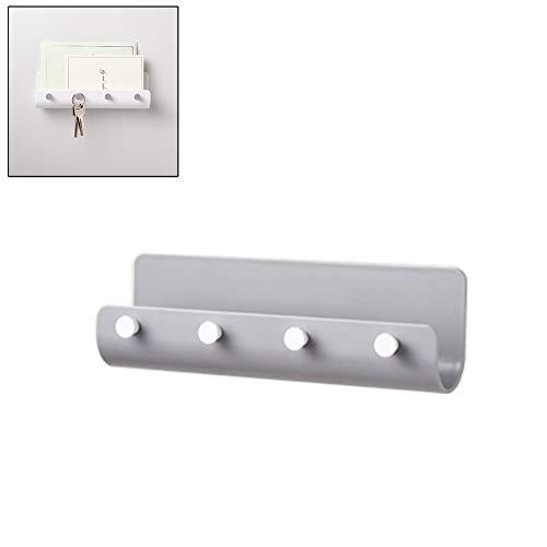 Daxoon U-vormige hakenlijst, klein sleutelrekje met vier haken, zelfklevende muurhaken van ABS voor sleutels, sjaals, kan jassen, hoeden.